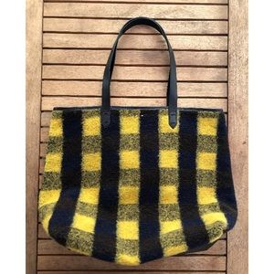 Kelsi Dagger Leather/Plaid Wool Flannel Tote Bag